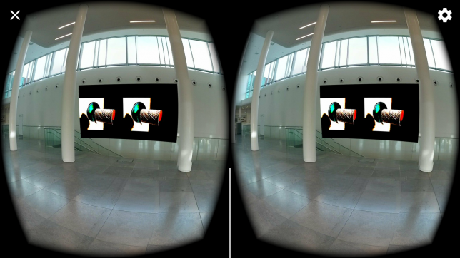 Screenshot: Exponat im 360 Grad Panorama - so hängt ein Werk von mit virtuell in der Eingangshalle der Uni Leipzig
