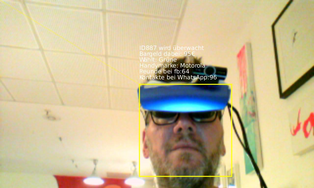 Aumented Reality mit Video Brille, montierter USB-Camera, VGA-Umsetzer und externem PC als Zuspieler